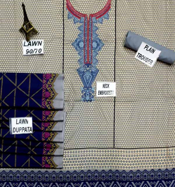 Latest Lawn Embroidery Suit With Lawn Duppata (Unsicthed) (DRL-694) Gallery Image 1