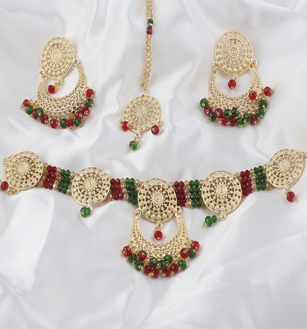 Multicolor jewelry Set With Matha Patti (PS-268) Gallery Image 2