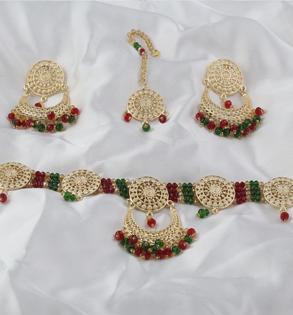 Multicolor jewelry Set With Matha Patti (PS-268) Gallery Image 3