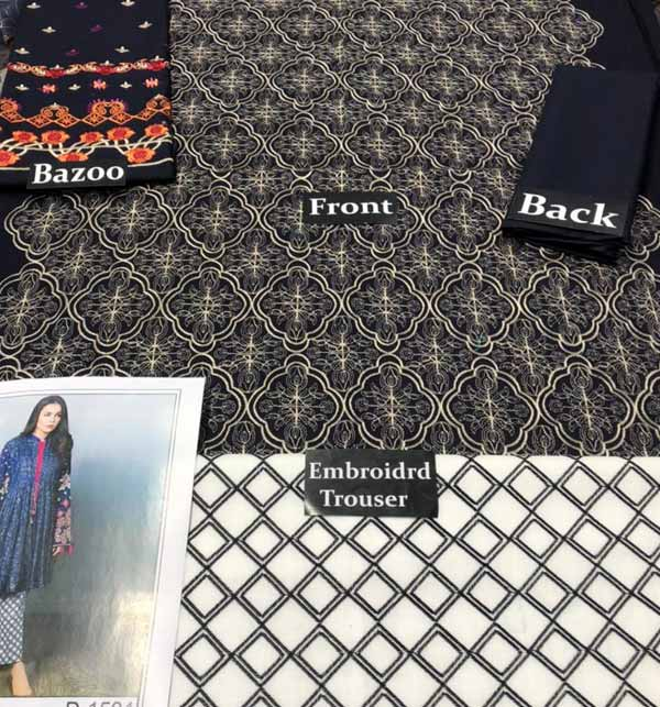 2 Pieces Embroidery Suit With Trouser Embroidery 2021 (DRL-701) Gallery Image 1