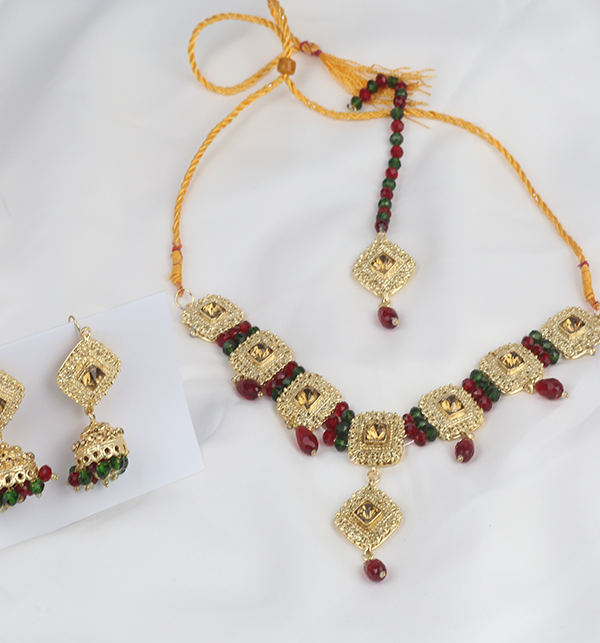 Designer Golden Jewellery Set with Matha Patti (PS-273) Gallery Image 3