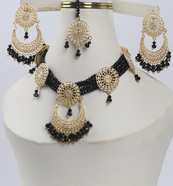 Black Golden Necklace Set For Women (PS-280) Gallery Image 1