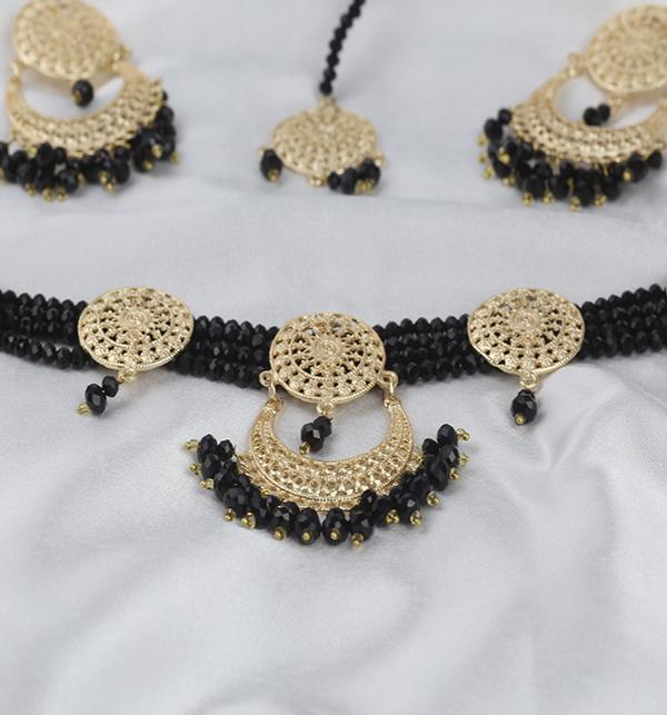 Black Golden Necklace Set For Women (PS-280) Gallery Image 2