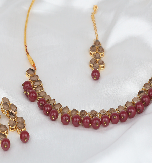Beautiful Stone Necklace Set For Girls (PS-291) Gallery Image 2