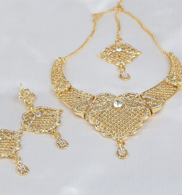 Beautiful Zircon Jewelry Set Earing With MathaPati (PS-296) Gallery Image 1