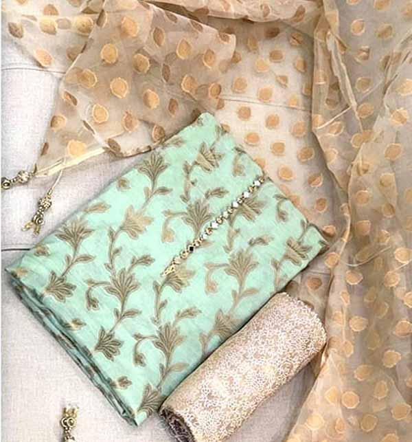 Banarsi Style Cotton Jacquard Suit with Organza Jacquard Dupatta (DRL-728) Gallery Image 1