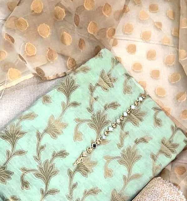 Banarsi Style Cotton Jacquard Suit with Organza Jacquard Dupatta (DRL-728) Gallery Image 2