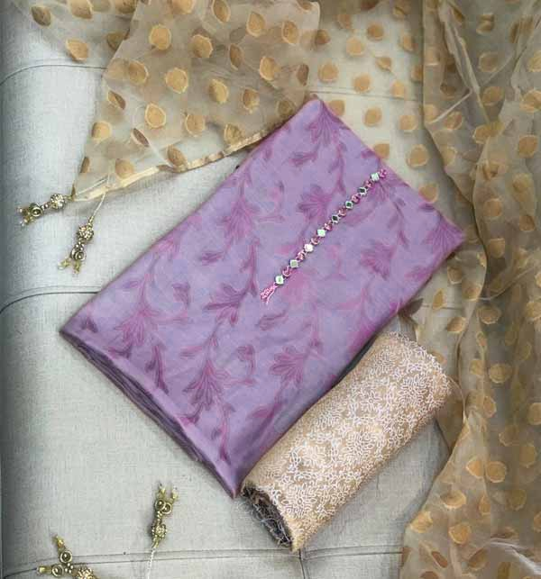 Purple Banarsi Jacquard Suite Organza Jacquard Dupatta Jamawr Trouser UnStitched (DRL-741) Gallery Image 1