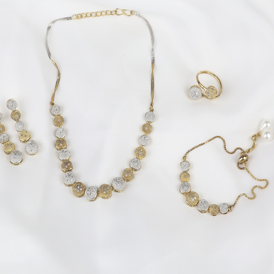 Stylish AD Zircon Necklace Set with Earrings & Matha Patti (PS-313) Gallery Image 1