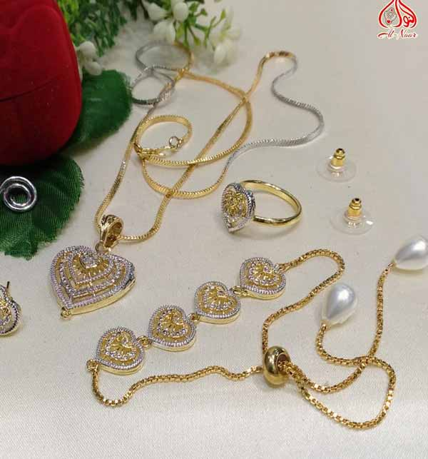 Zircon Combo Deal Necklaces Set Earring Braclet & Ring (PS-317) Gallery Image 1