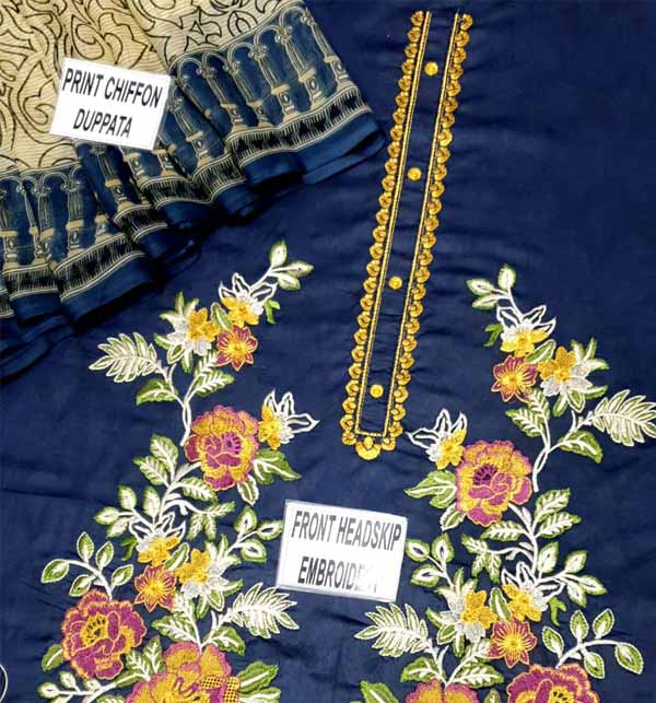 Lawn Heavy Embroidered Suit With Chiffon Dupatta UnStitched (DRL-742) Gallery Image 1