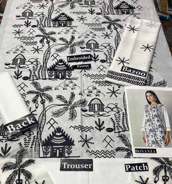 Eid 2 Pieces White & Black Suit 2021 Unsitched (DRL-750) Gallery Image 1