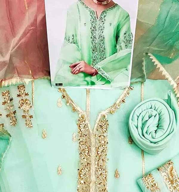 Handwork Embroidered Organza Wedding Dress with Inner (CHI-450) Gallery Image 1