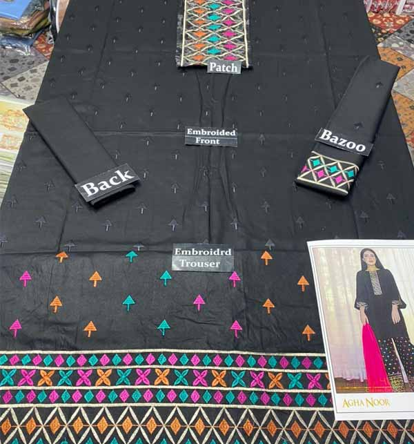 Lawn Black 2 Pec  Full Embroidered Suit Emb Trouser UnStitched (DRL-767) Gallery Image 1