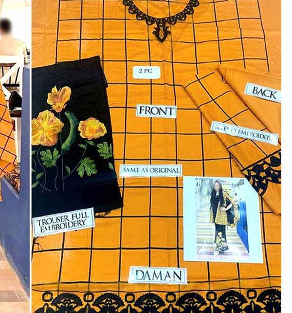 2-Pcs Embroidered Cotton Lawn Suit with Embroidered Trouser (DRL-772) Gallery Image 1