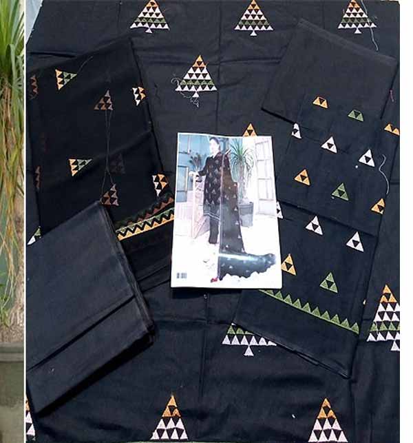 Heavy Embroidered Black Cotton Lawn Dress 2021 with Emb. Chiffon Dupatta (DRL-773) Gallery Image 1