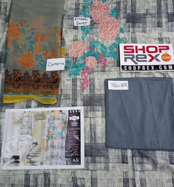 (AZADI SALE) Lawn Embroidered Dress 2021 with Chiffon Dupatta (DRL-786) Gallery Image 1