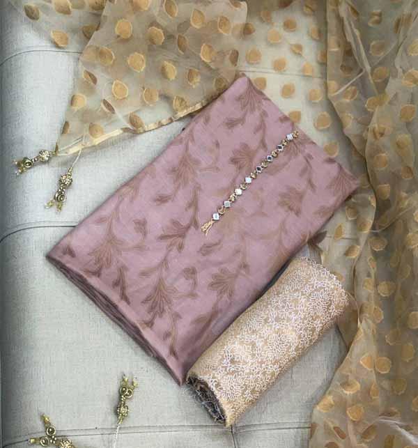 (AZADI SALE)Pack OF 2 Banarsi Jacquard Suite Organza Jacquard Dupatta Jamawr Trouser (DRL-727) &  (DRL-728)  Gallery Image 2
