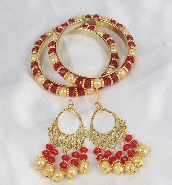 Maroon Pearls 4 Bangles With Tassels For Girls (BH-53) Gallery Image 1