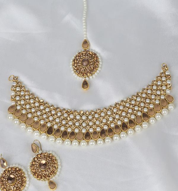 Beautiful Pearl Jewelry Set Shisha Work For Women (PS-349) Gallery Image 1