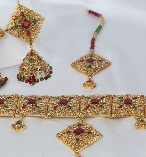 Chocker Jewelry Set With Jhumka Matha Patti Design 2021 For Women (PS-351) Gallery Image 1