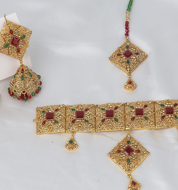 Chocker Jewelry Set With Jhumka Matha Patti Design 2021 For Women (PS-351) Gallery Image 2
