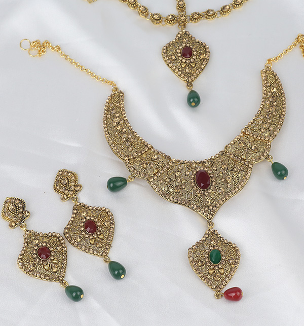 Bridal Multi Store Jewelry Set Necklace Earring Matha Patti (PS-352) Gallery Image 1