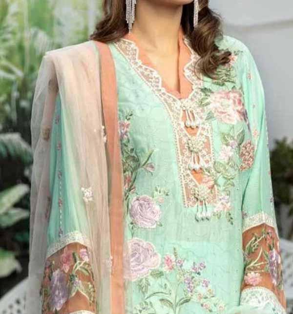Eid Heavy Schiffli Lawn 2021 With Net Heavy Embroidered Duptta (DRL-794) Gallery Image 3