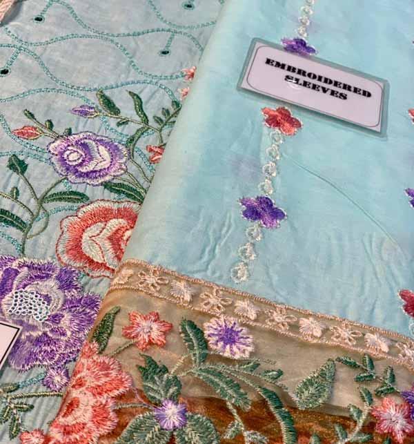 Eid Heavy Schiffli Lawn 2021 With Net Heavy Embroidered Duptta (DRL-794) Gallery Image 4