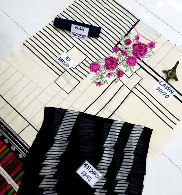 LAWN Embroidery Dress Soft Chiffon Dupatta UnStitched (DRL-801) Gallery Image 1
