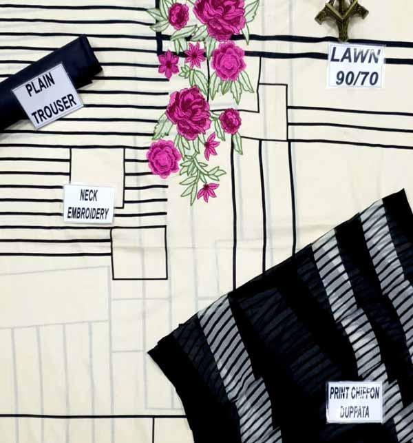 LAWN Embroidery Dress Soft Chiffon Dupatta UnStitched (DRL-801) Gallery Image 2