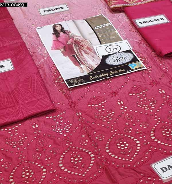 Schiffli Embroidered Lawn Suit Chiffon Duppata UnStitched (DRL-803) Gallery Image 2
