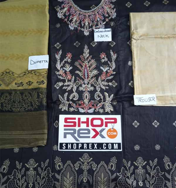 Black Lawn Embroidered Suit With Chiffon Dupatta (DRL-806) Gallery Image 1