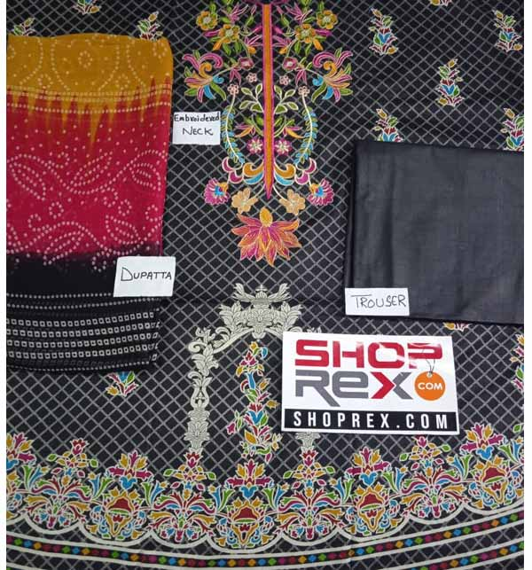 New Black Lawn Embroidered Suit With Chiffon Dupatta  (DRL-807) Gallery Image 1