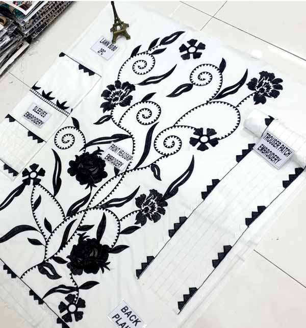 2 Pieces Beautiful White & Black Lawn Embroidered Suit  (Unsicthed)  (DRL-808) Gallery Image 1
