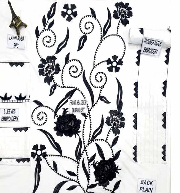 2 Pieces Beautiful White & Black Lawn Embroidered Suit  (Unsicthed)  (DRL-808) Gallery Image 2