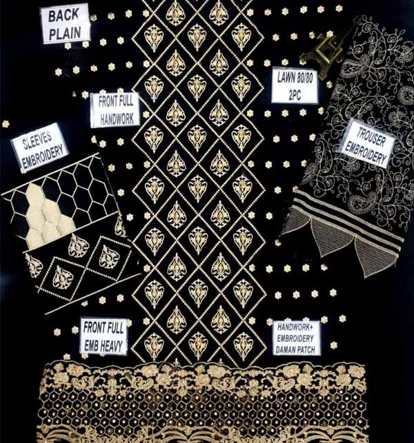 Lawn Sequence Heavy Embroidery Suit Emb Trouser (DRL-812) Gallery Image 1