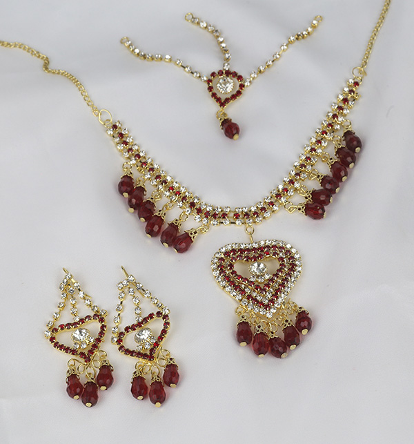 Maroon Heart Jewelry Sets Earing and Matha Patti  (PS-374)  Gallery Image 1