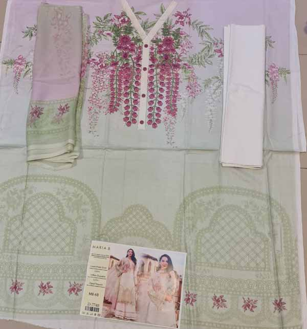 Hit Luxery Eid Lawn Suit WIth Chiffon Duppata (DRL-816) Gallery Image 1