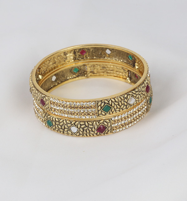 Multi Color Stone Work Bangle Set for Women  (BH-60) Gallery Image 1