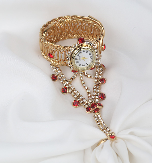Golden Bracelet Watch With Panja Ring (BH-65) Gallery Image 1