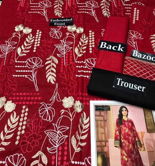 Luxury Full Embroidered Lawn Suit 2 PCS (Unsitched) (DRL-825) Gallery Image 1