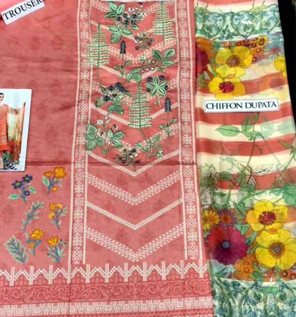 Lawn Embroidered Dress Chiffon Dupatta UnStitched (DRL-831) Gallery Image 1