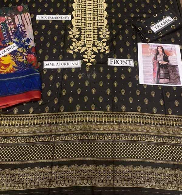 (Azadi Sale) Black Eid Embroidered Lawn Dress 2021 with Chiffon Dupatta (DRL-834) Gallery Image 1
