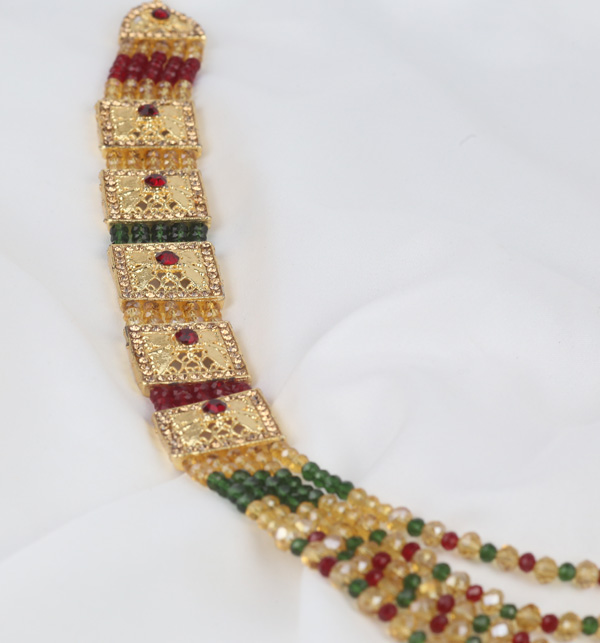 Bridal Multi color Golden Mala Necklace For Women  (PS-381) Gallery Image 1