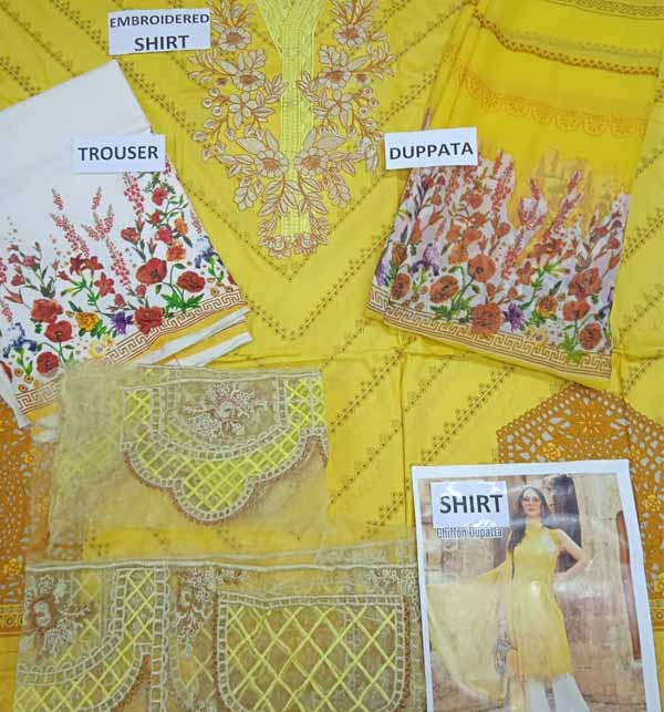 Luxury Lawn Collection Neck Embroidery with Chiffon Printed Duppata (DRL-857) Gallery Image 1
