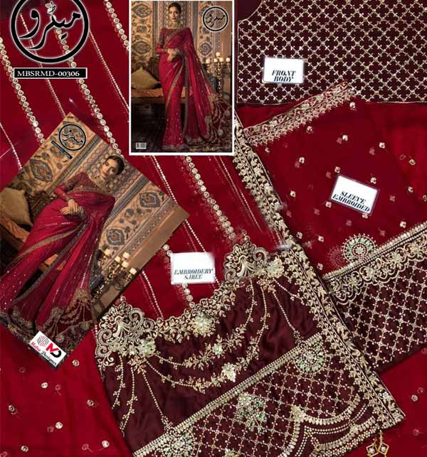 Handwork Heavy Embroidered Chiffon Saree with Inner (CHI-459) Gallery Image 1