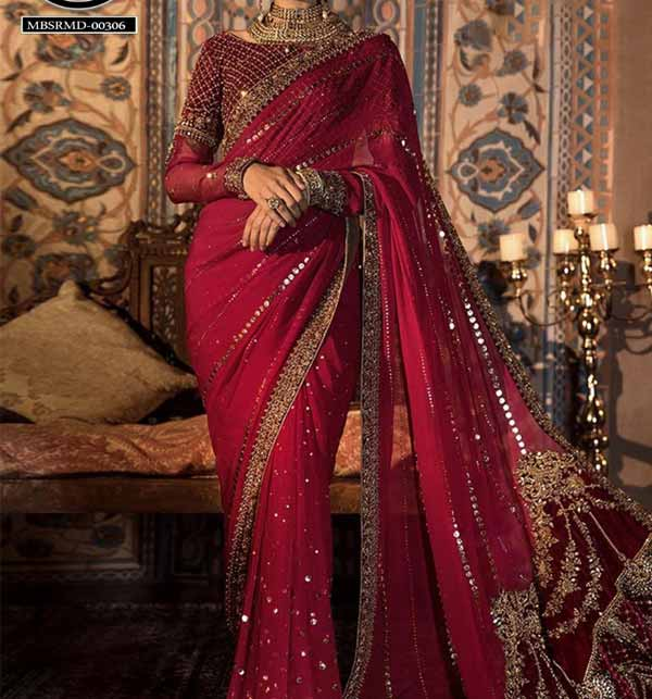 Handwork Heavy Embroidered Chiffon Saree with Inner (CHI-459) Gallery Image 3