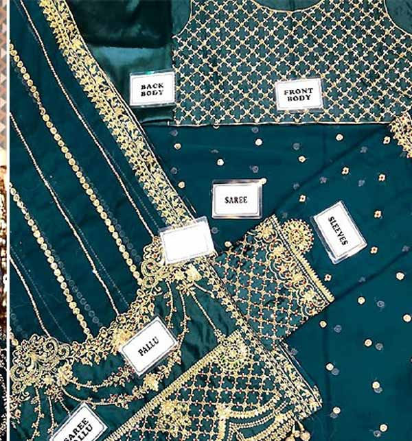 Handwork Heavy Embroidered Chiffon Saree with Inner (CHI-460) Gallery Image 1