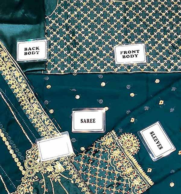 Handwork Heavy Embroidered Chiffon Saree with Inner (CHI-460) Gallery Image 2